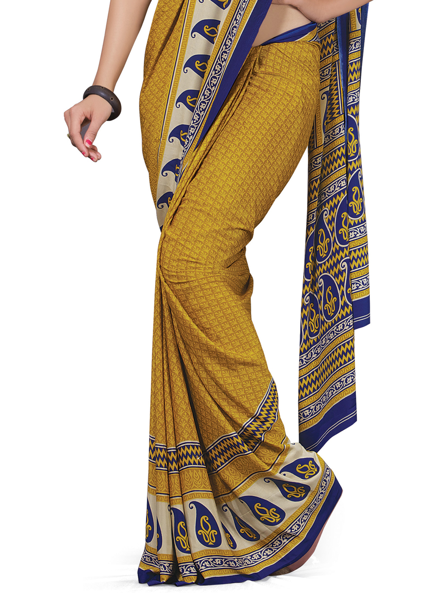 Mustard Yellow Crepe Printed Casual Saree