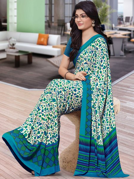Teal Blue and Cream Yellow Crepe Printed Casual Saree