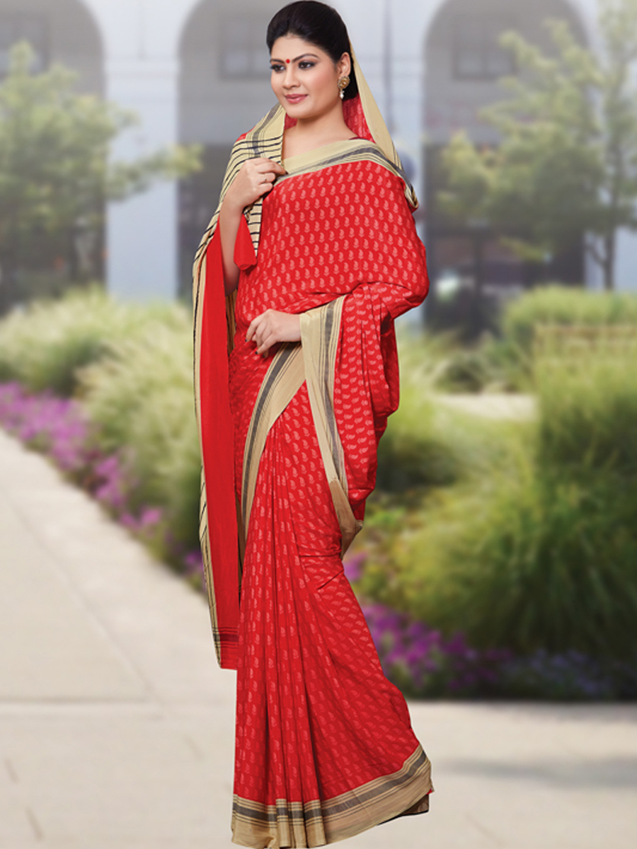 Rose Madder Red Crepe Printed Casual Saree