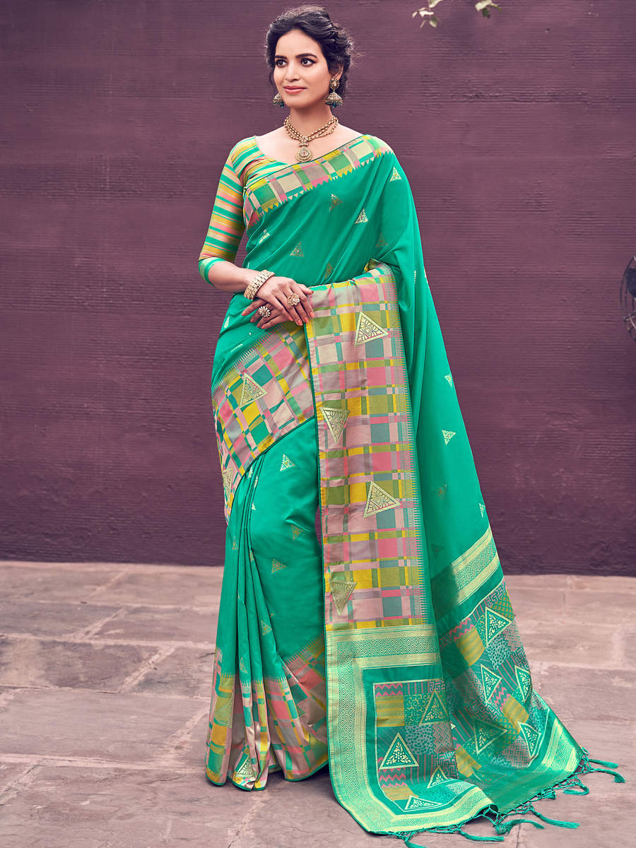 Jungle Green Banarasi Silk Handwoven Festival Saree