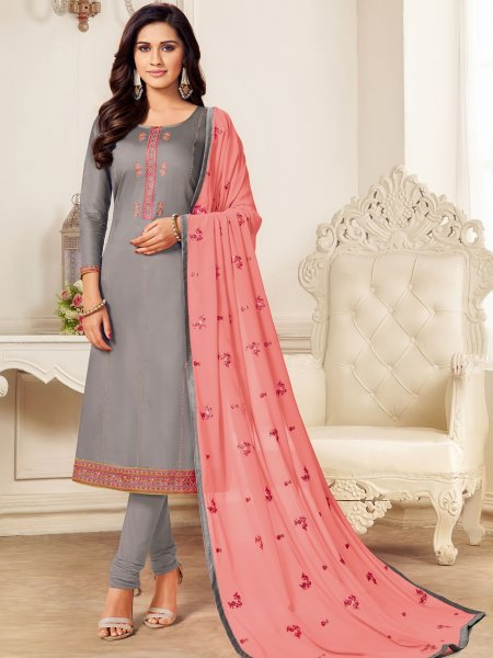 Gray Cotton Embroidered Party Churidar Pant Kameez