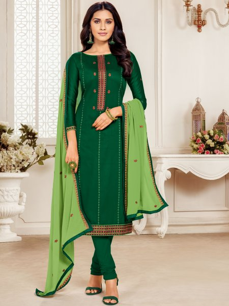 Hunter Green Cotton Embroidered Party Churidar Pant Kameez