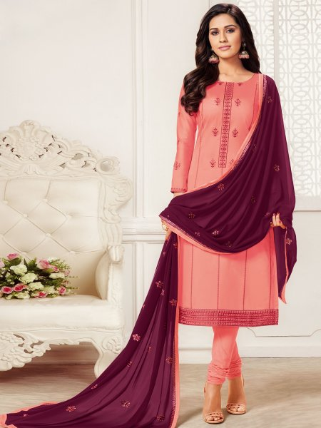 Coral Pink Cotton Embroidered Party Churidar Pant Kameez