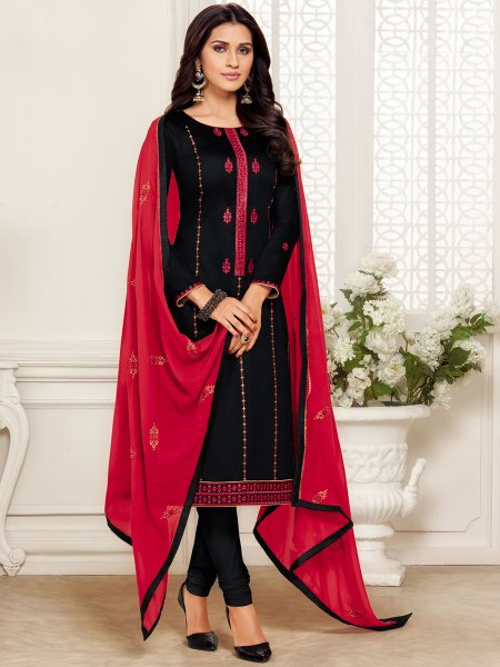 Black Cotton Embroidered Party Churidar Pant Kameez