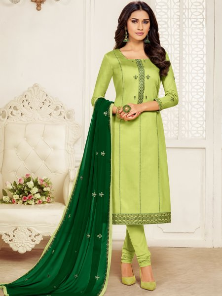 Parrot Green Cotton Embroidered Party Churidar Pant Kameez