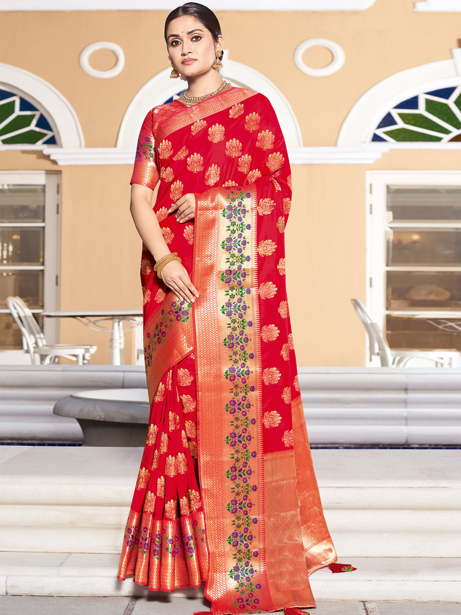 Rose Madder Red Silk Handwoven Festival Saree