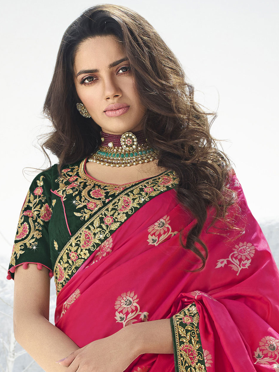 Magenta Pink Silk and Jacquard Embroidered Party Saree