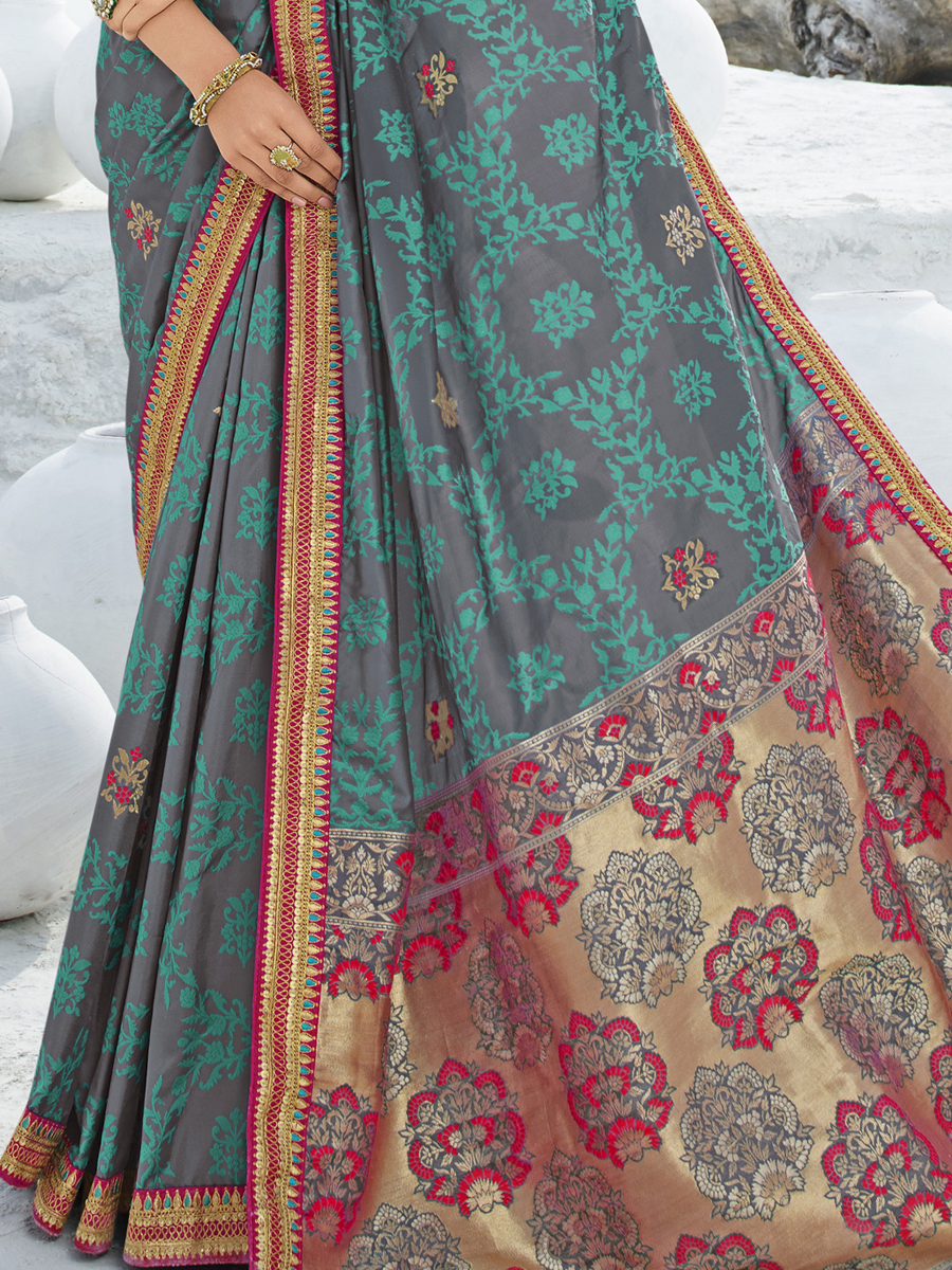 Gray and Pine Green Silk and Jacquard Embroidered Party Saree