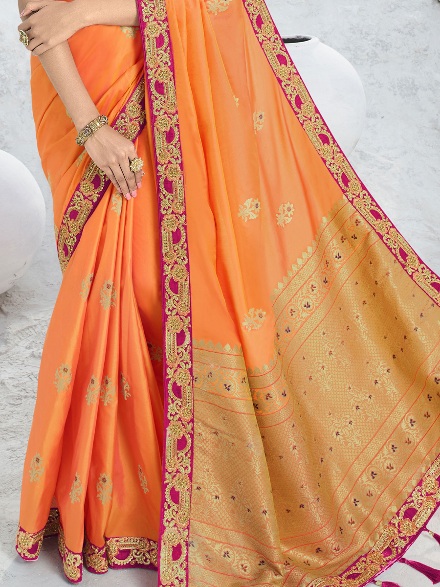 Salmon Orange Silk and Jacquard Embroidered Party Saree