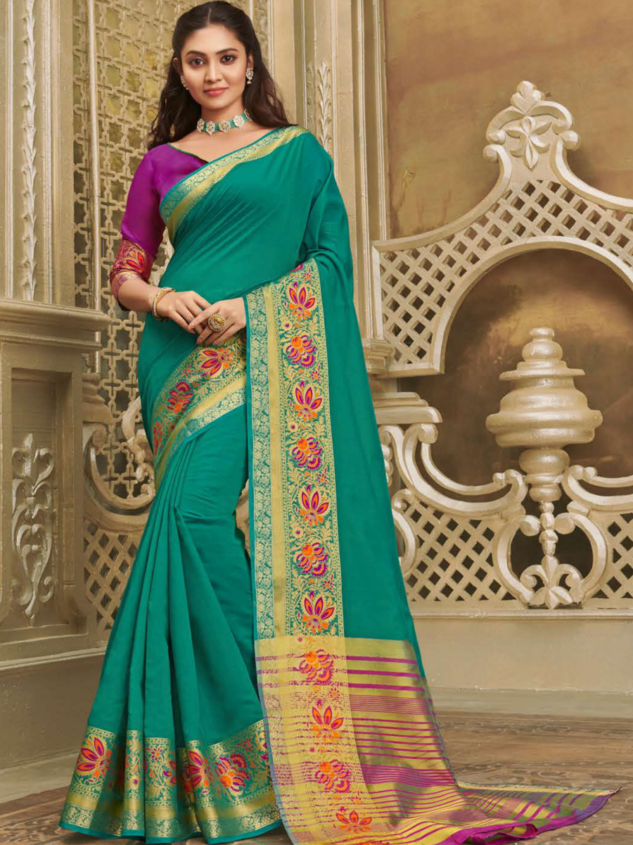 Persian Green Cotton Handwoven Festival Saree