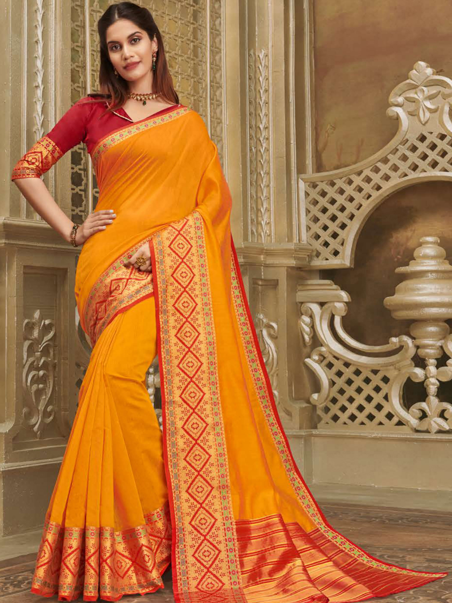 Orange Peel Cotton Handwoven Festival Saree