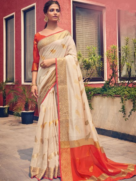 Cream Yellow Cotton Handwoven Festival Saree