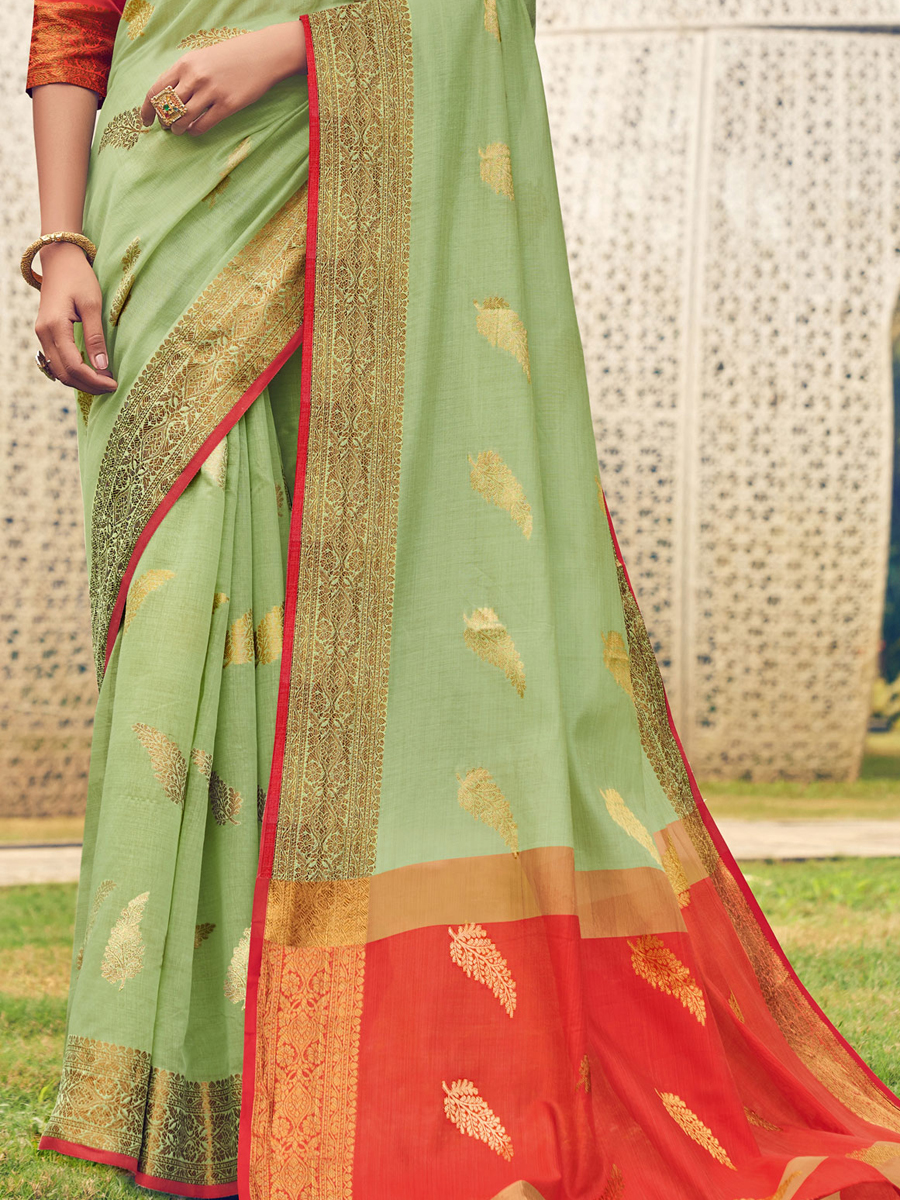 Parrot Green Cotton Handwoven Festival Saree