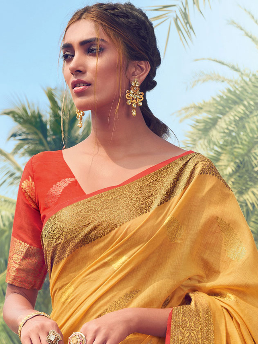 Amber Yellow Cotton Handwoven Festival Saree