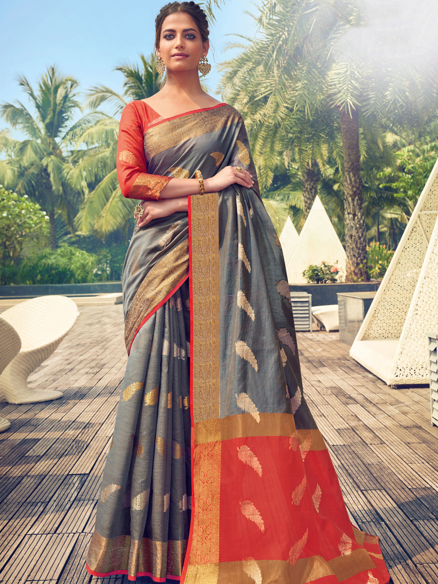 Gray Cotton Handwoven Festival Saree