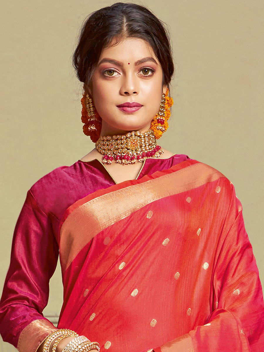 Crimson Red Silk Handwoven Festival Saree