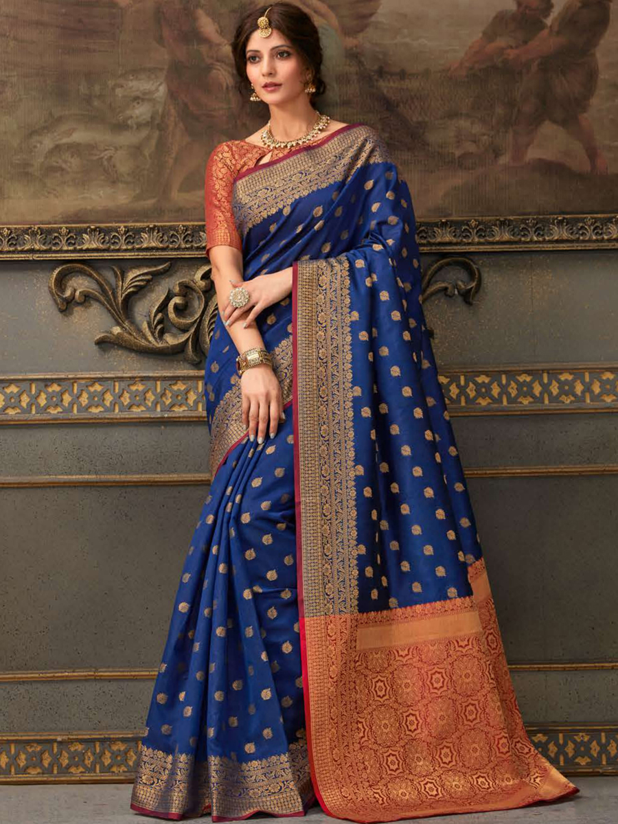 Dark Blue bSilk Handwoven Festival Saree