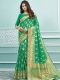 Jade Green Cotton Handwoven Festival Saree
