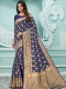 Navy Blue Cotton Handwoven Festival Saree