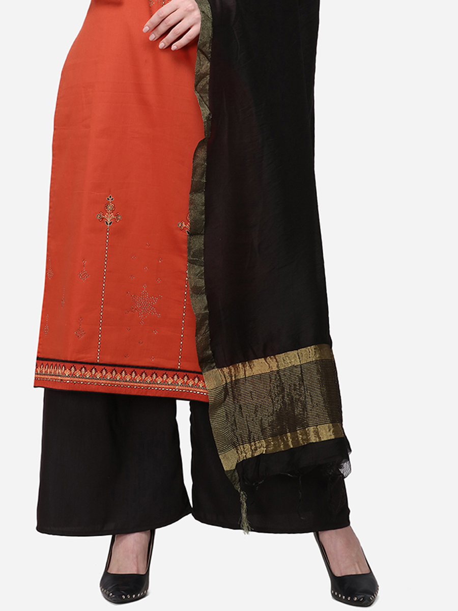 Persimmon Red Silk Embroidered Festival Palazzo Pant Kameez
