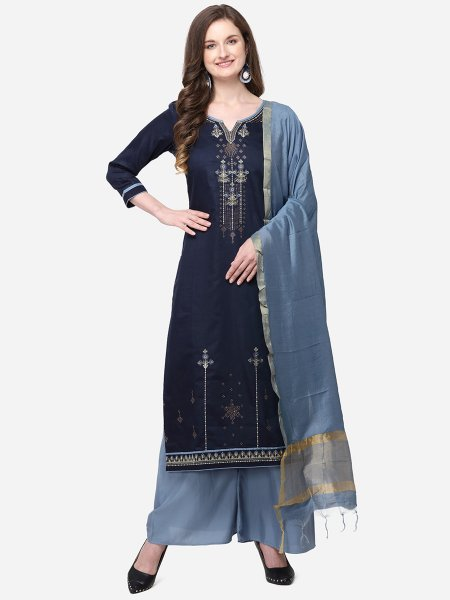 Navy Blue Silk Embroidered Festival Palazzo Pant Kameez