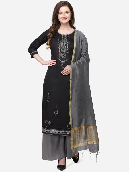 Black Silk Embroidered Festival Palazzo Pant Kameez