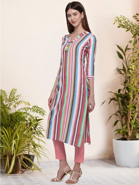 Light Pink and White Cotton Printed Casual Kurti