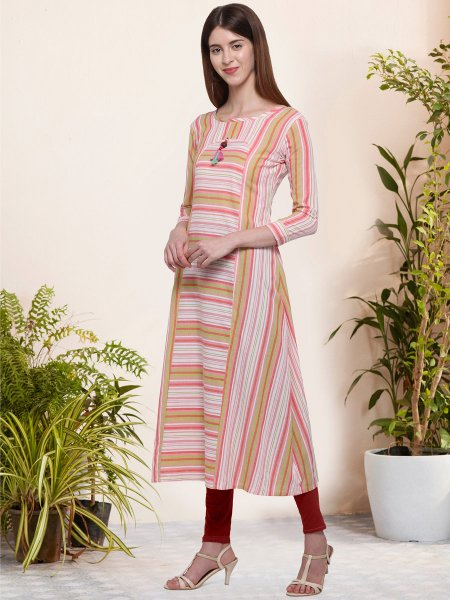 Mustard Yellow and Light Pink Cotton Printed Casual Kurti