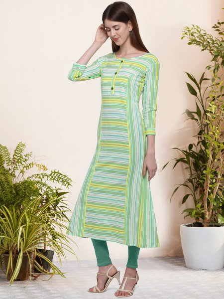 Light Green and Yellow Cotton Printed Casual Kurti