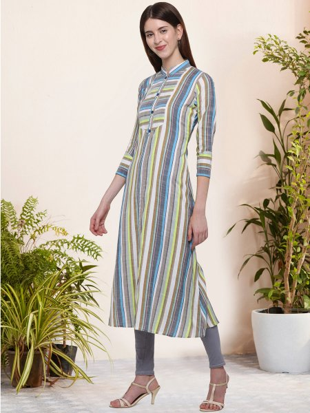 White and Gray Cotton Printed Casual Kurti
