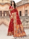 Venetian Red Silk Handwoven Festival Saree