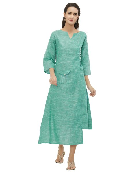 Light Sky Blue Cotton Plain Casual Kurti