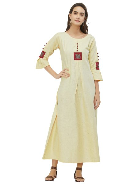 Off White Khadi Embroidered Casual Kurti
