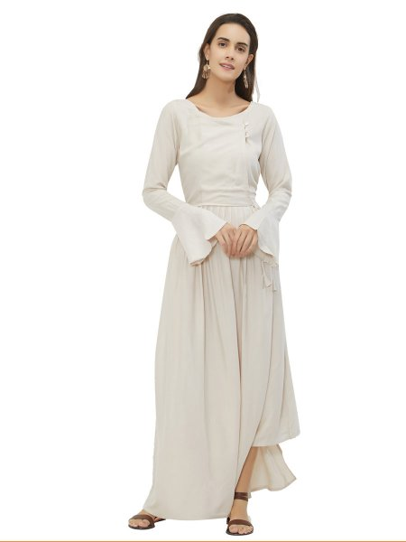 Off-White Rayon Plain Casual Kurti