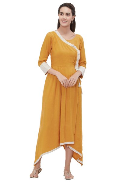 Mustard Yellow and White Rayon Plain Casual Kurti