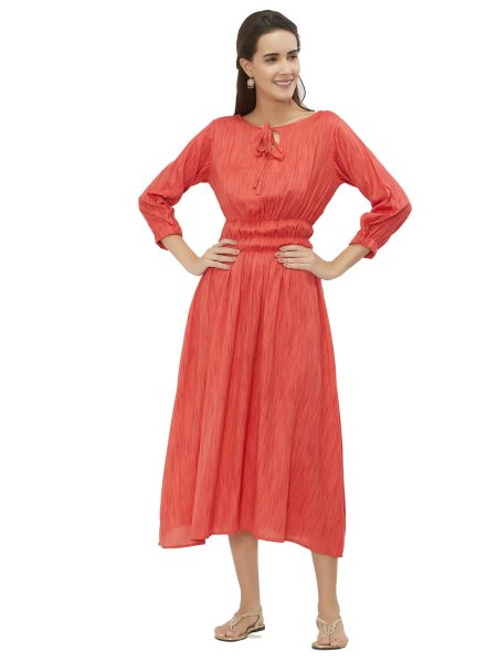 Tomato Orange Rayon Plain Casual Kurti