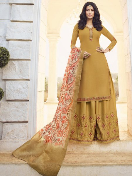 Mustard Yellow Satin Georgette Embroidered Party Sharara Pant Kameez