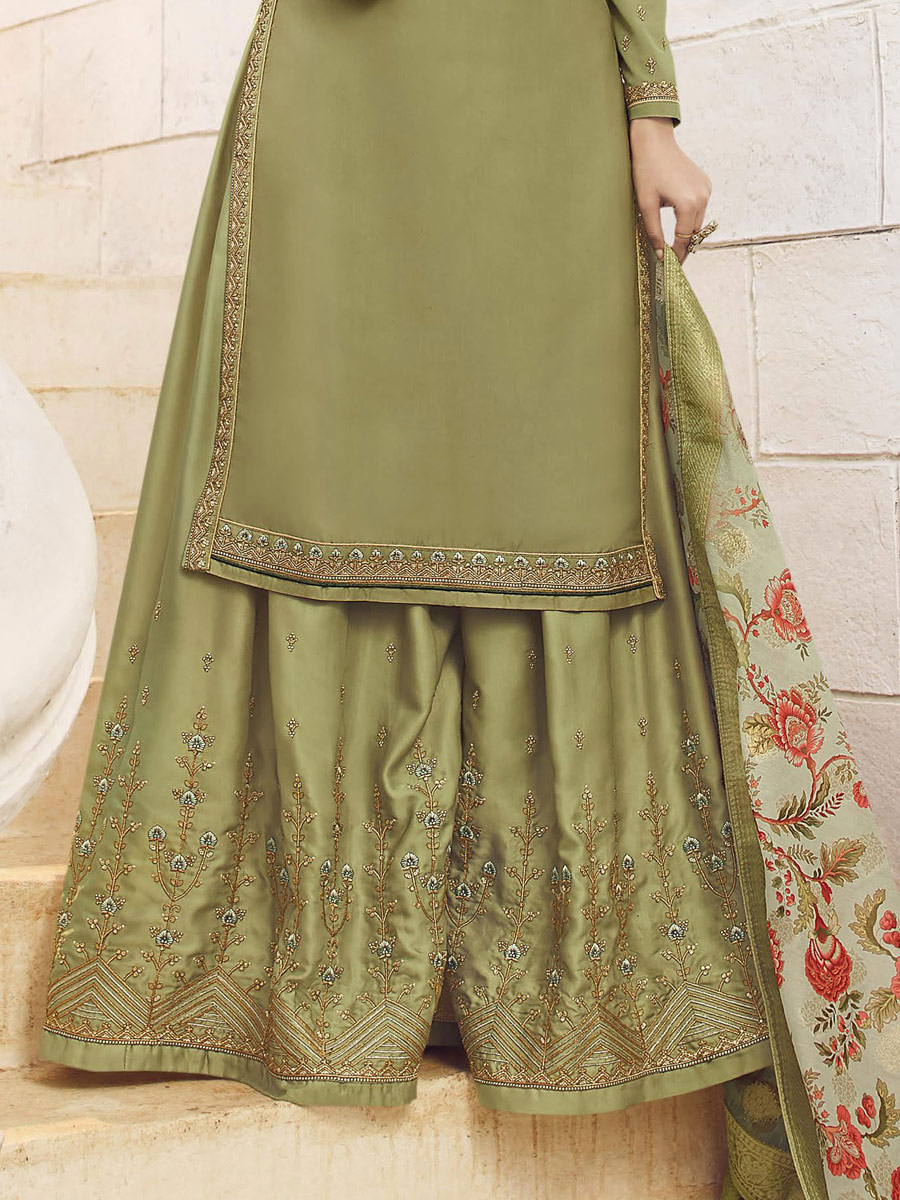 Asparagus Green Satin Georgette Embroidered Party Sharara Pant Kameez