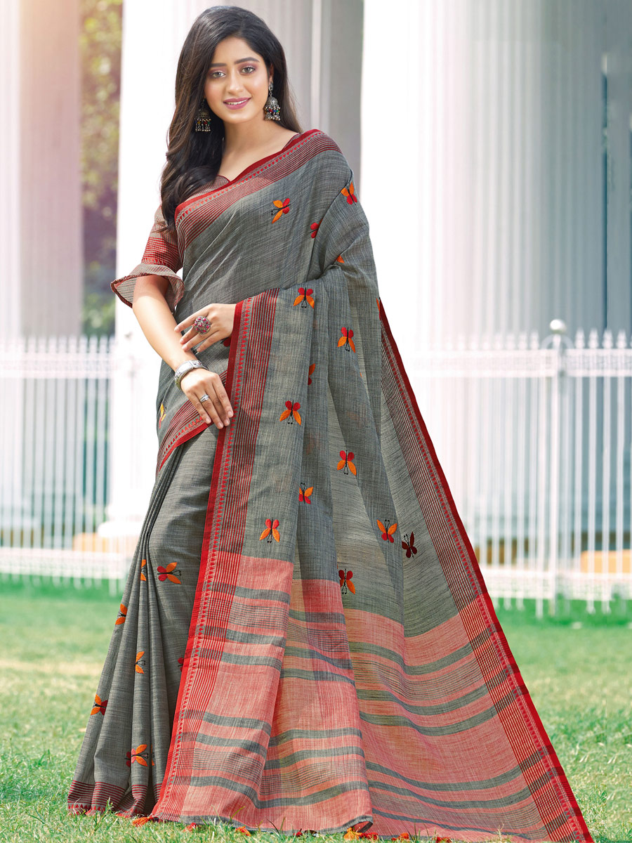 Gray Linen Cotton Embroidered Party Saree