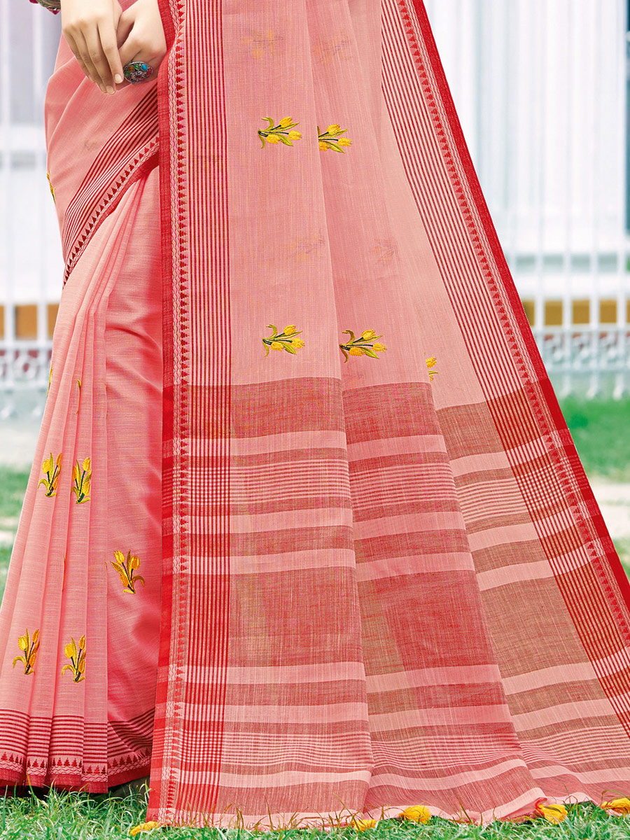 Brink Pink Linen Cotton Embroidered Party Saree