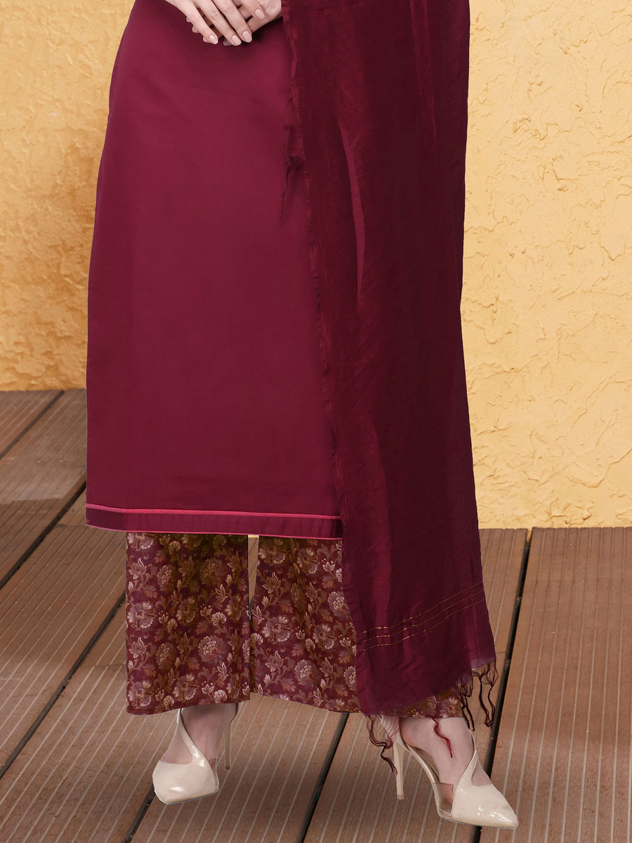 Dark Pink Cotton Silk Embroidered Party Palazzo Pant Kameez