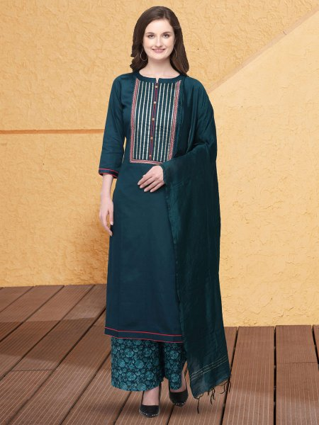 Midnight Blue Cotton Silk Embroidered Party Palazzo Pant Kameez
