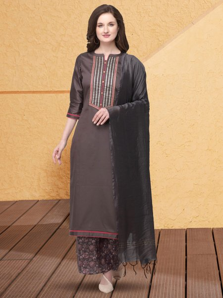 Light Brown Cotton Silk Embroidered Party Palazzo Pant Kameez