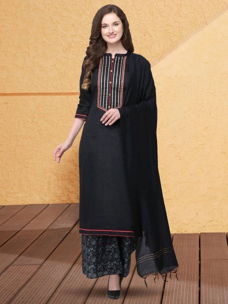 Black Cotton Silk Embroidered Party Palazzo Pant Kameez