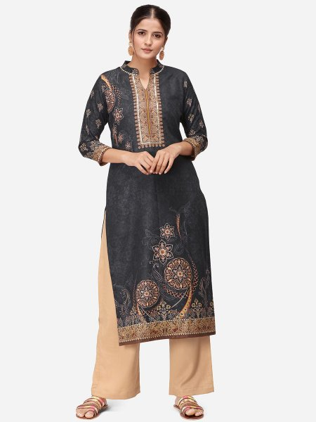 Black Rayon Printed Party Kurti