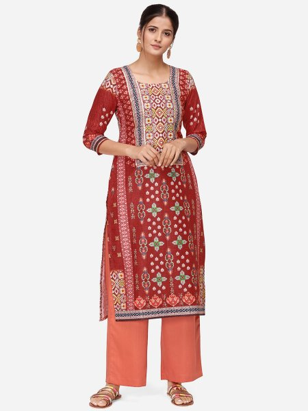 Cardinal Red Rayon Printed Party Kurti