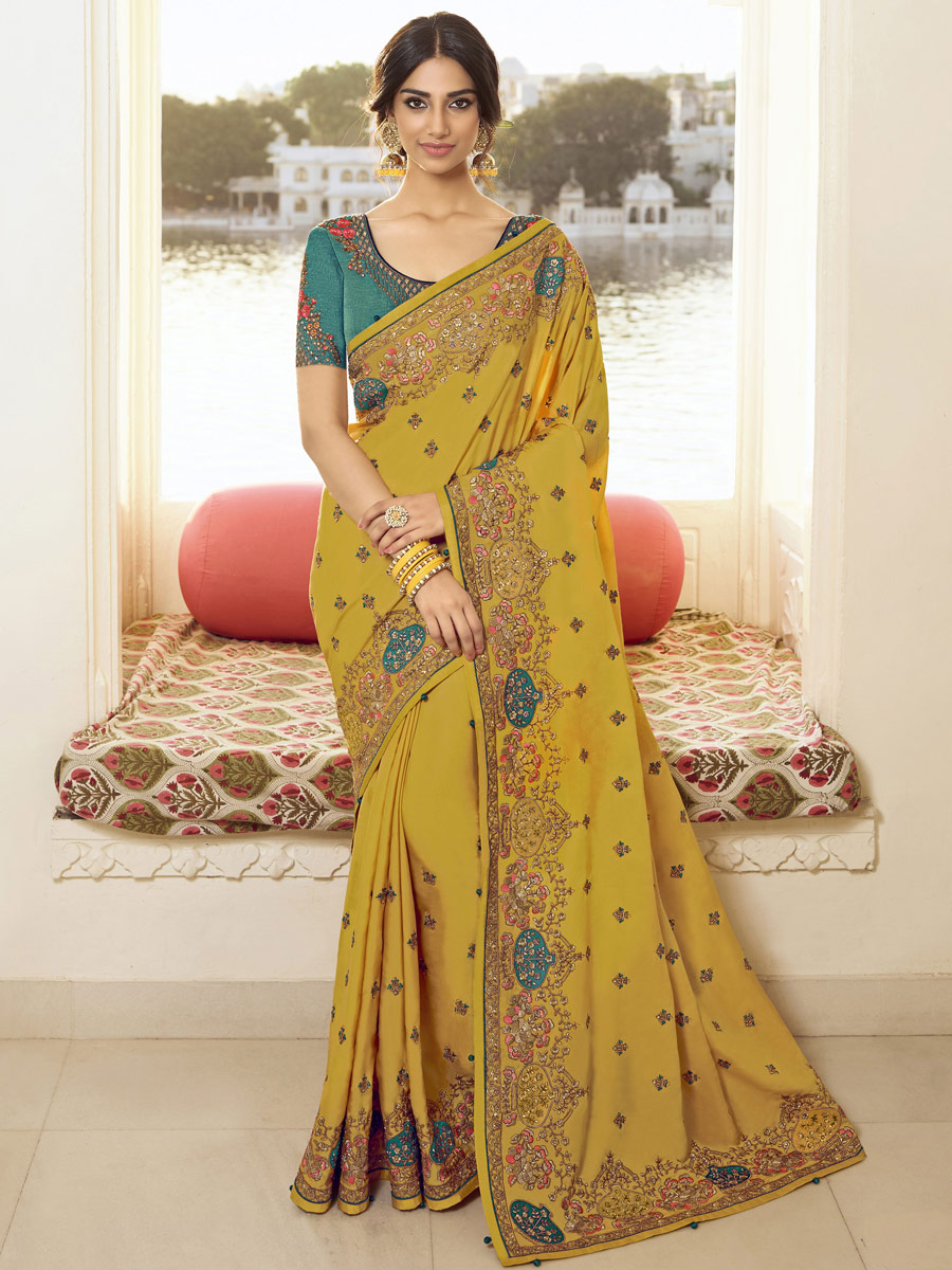 Mustard Yellow Vichitra Silk Embroidered Festival Saree