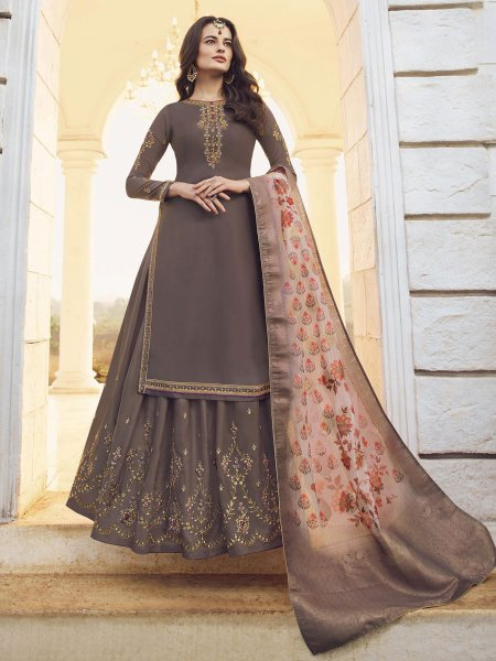 Taupe Brown Muslin Satin Embroidered Party Lehenga Suit