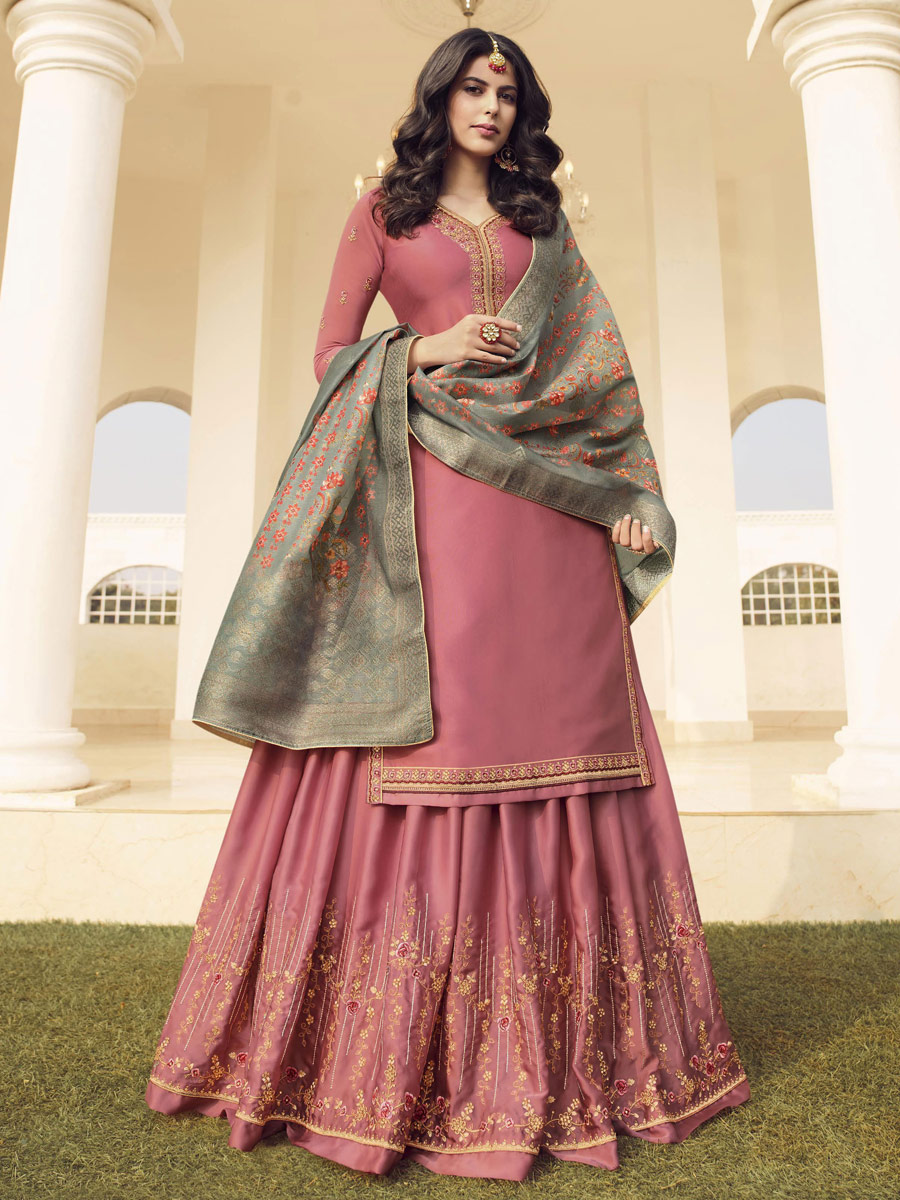 Salmon Pink Muslin Satin Embroidered Party Lehenga Suit