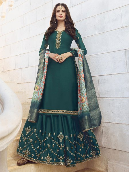 Teal Blue Muslin Satin Embroidered Party Lehenga Suit